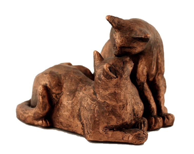 Two Cats Cuddling - Colour Bronze