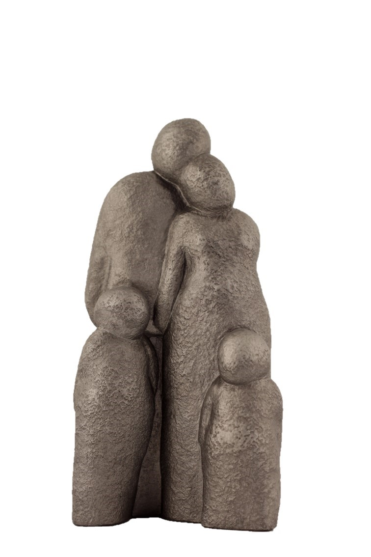 Couple With 2 Children - Colour Steel