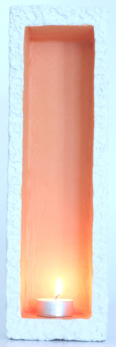 Hole In The Wall Small Tealight Candle Holder - Colour Off-White & Orange
