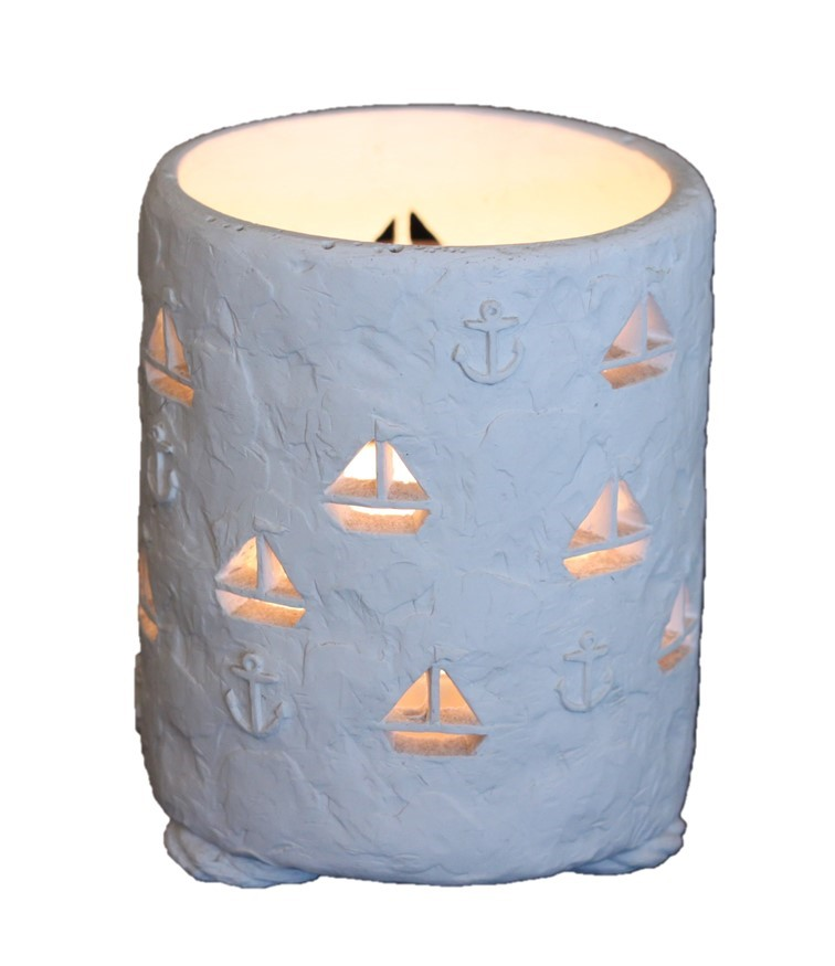 Round with Sailboats and Anchors - Colour White