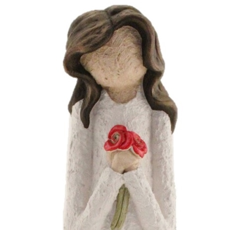 Holding 2 Red Flowers - Colour White With Brown Hair